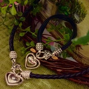 BRIGHTON Leather Heart Necklace and Bracelet Set